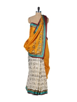 White & Yellow Graffiti Saree - ROOP KASHISH