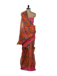 Elegant Orange & Pink Floral Saree - ROOP KASHISH