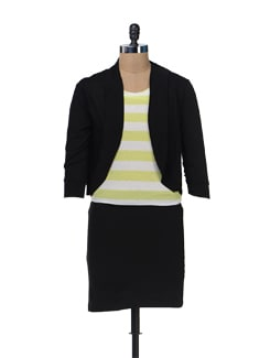 Striped Lime Green And White Dress With Jacket - Color Cocktail