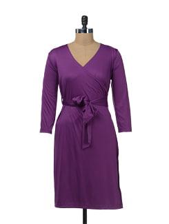 Electric Purple Wrap Dress - Color Cocktail