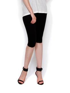 Black Capri Leggings With Lace - Thegudlook