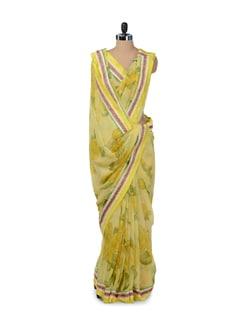Elegant Yellow Floral Saree - ROOP KASHISH