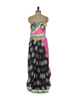 Black & Pink Printed Saree - ROOP KASHISH