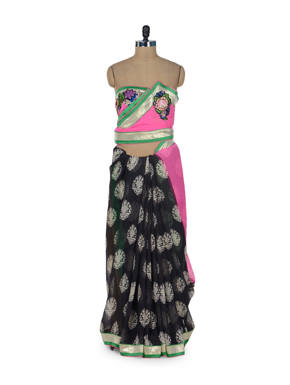 Black & Pink Printed Saree - ROOP KASHISH