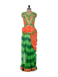 Elegant Green & Orange Printed Saree - ROOP KASHISH