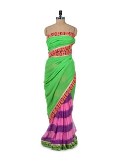 Pink & Green Printed Designer Saree - ROOP KASHISH