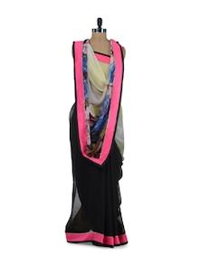 Elegant Black & Pink Floral Saree - ROOP KASHISH
