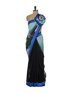 Elegant Black & Blue Floral Saree - ROOP KASHISH