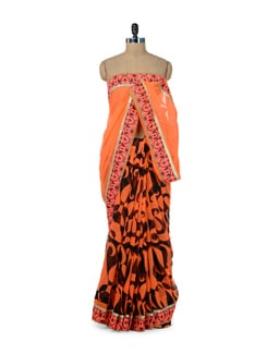 Bright Orange Paisley Print Saree - ROOP KASHISH