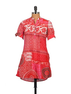 Vibrant Red Tunic Top - STYLE QUOTIENT BY NOI