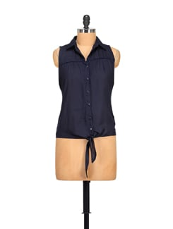Navy Blue Sleeveless Top - STYLE QUOTIENT BY NOI