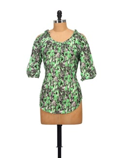 Neon Green And Grey Shoulder Cut-out Top - STYLE QUOTIENT BY NOI