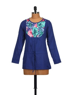 Trendy Blue Tunic Top - STYLE QUOTIENT BY NOI