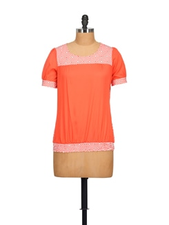 Geometrical Pattern Coral Top - STYLE QUOTIENT BY NOI
