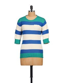 Blue & White Striped Top - NOI