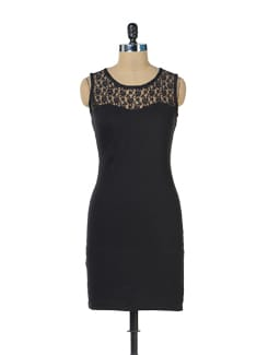 Black Lace Back Dress - Miss Chase