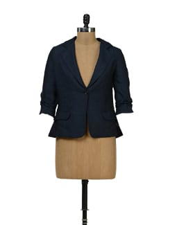 Navy Blue Linen Blazer - Yell