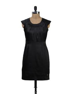 Black Satin Cap Sleeve Dress - Yell
