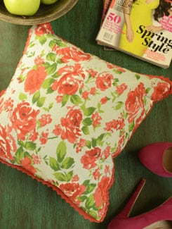 Red Rose Print Cushion Cover-Set Of 2 - Morning Blossom
