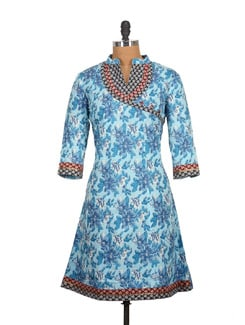 Coral Blue Cotton Kurti With Banaras Patchwork - Tamirha