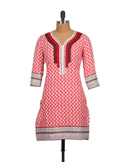 Peach Pink Block Print Cotton Kurti With Embroidery - Tamirha