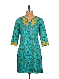Turquoise Blue Cotton Kurti With Floral Print - Tamirha