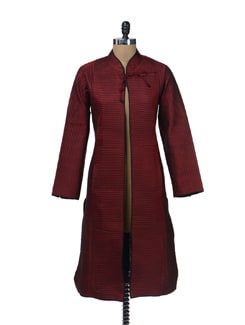 Ethnic Maroon Quilted Jacket - Vedanta