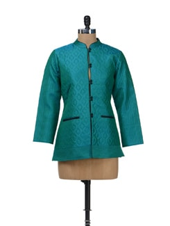 Quilted Turquoise Short Jacket - Vedanta