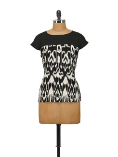Black And White Printed Top - House Of Tantrums