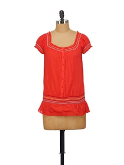 Buttoned Top In Red - House Of Tantrums