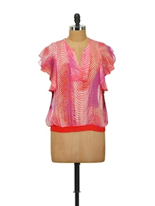 Printed Chiffon Top In Pink And Tangerine - House Of Tantrums