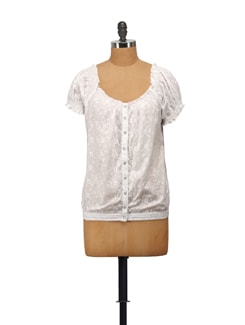 Embroidered Top In Monochrome White - House Of Tantrums
