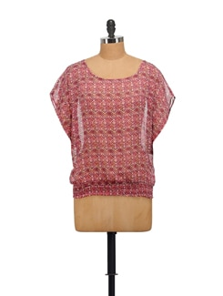 Maroon Sheer Printed Top - House Of Tantrums