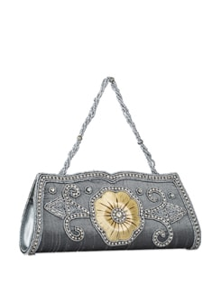 Silver Grey Studded Clutch With Chain - Vendee Lifestyle