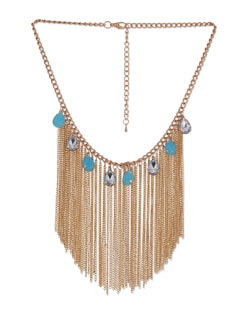 Sky Blue & Gold Tassled Necklace - Blissdrizzle