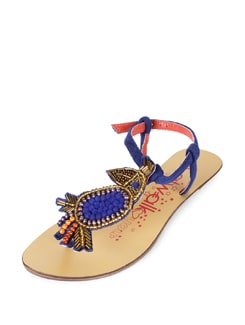 Embellished Blue & Gold Flats - CATWALK