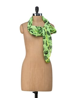 Neon Green Cat Cup Scarf - Ivory Tag