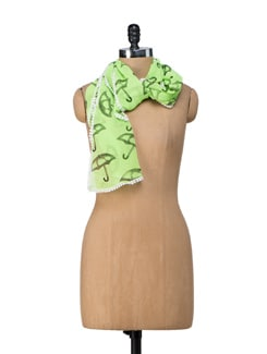 Neon Green Umrella Print Scarf - Ivory Tag