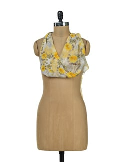 Vintage Floral Yellow Scarf - Ivory Tag