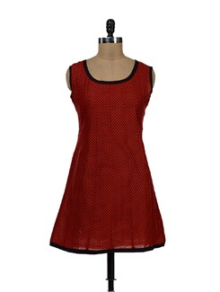 Printed Red And Black Kurti - NEE