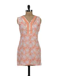 Orange And White Kurti - NEE