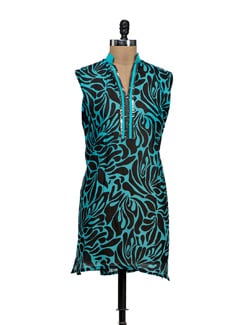 Abstract Turquoise Kurti - NEE