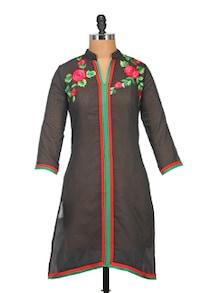 Black Floral Embroidered Kurta - KYLA F