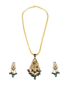 Green Meenakari Jewellery Set - AAKSHI