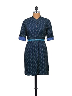 Heart Print Dress With Blue Belt - Myaddiction