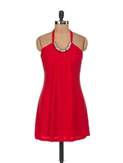 Siren Red Halter Neck Dress - Sanchey