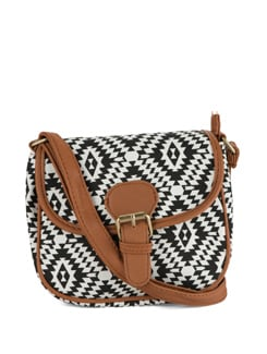 Black & White Printed Sling Bag - Toniq