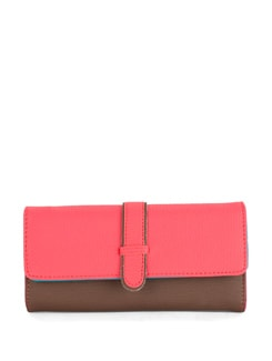 Pink & Brown Colorblocked Wallet - Toniq