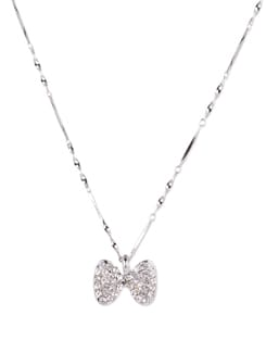 Silver Bow Pendant Necklace - YOUSHINE