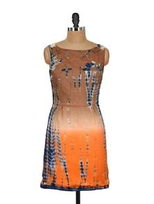 Brown & Orange Printed Sleeveless Dress - Nineteen